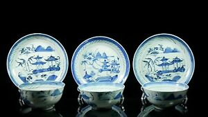 3 19th C Chinese Canton Cups Bowls Saucers Rice Tea 88