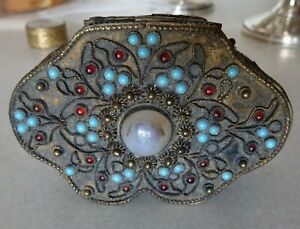 Chinese Silver Gilt Box With Jade Turquoise And Garnet Stones C 1900