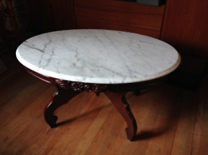 Oval Marble Top Coffee Table