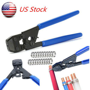 Us Pex Kit Pipe Tube Crimper Crimping Tool Plumbing Cutter W 35ring Cinch Clamps
