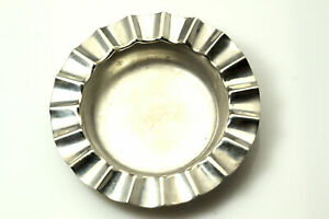 Vintage Antique 928 Sterling Silver Small Round Fluted Rim Ashtray Ant2514