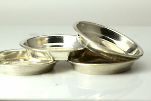Set Of 4 925 Sterling Silver Dish With Old English Letter F Ant2515