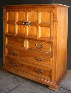 Vintage Antique Drexel Gothic Wood Wooden Dresser Chest Armoire Wardrobe Closet