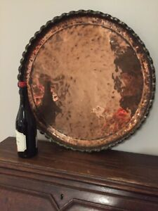 Large Antique Persian Copper Wall Hung Charger Plate Platter Tray 55cm Diameter
