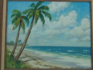 Vintage Seascape Oil Painting Signed Arnold L Hicks Listed Fl Florida Artist