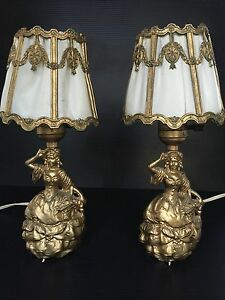 Beautiful Set Vintage Victorian Antique Shabby Chic Boudoir Table Lamp Lights