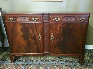 1930s Flame Mahogany Ladies Dresser W Fitted Interior