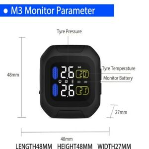Motorcycle Tpms W 1 5 Lcd Display Wireless Tire Pressure Monitoring System Us