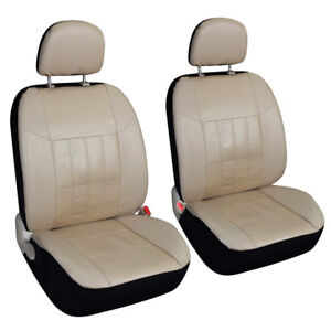 Beige 2 Leather Front Seat Covers Set Universal For Car Truck Suv