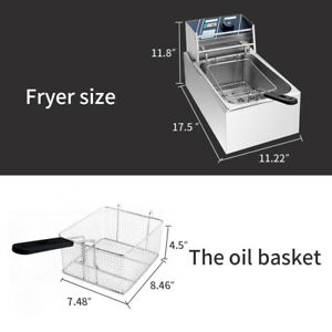 Electric Countertop Deep Fryer Tank Basket Commercial Restaurant 2500w 6 Liter
