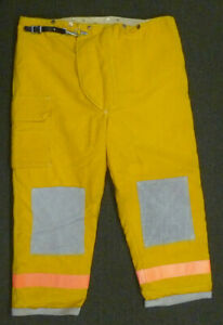 48x30 Fire dex Yellow Firefighter Pants Turnout Bunker Fire Gear W Liner P008