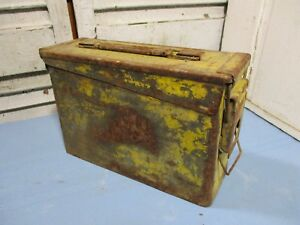 Vintage Metal Military Ammo Box w Faded Yellow Distressed Paint