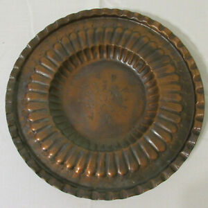 Antique Hand Engraved Scalloped Copper Middle Eastern Tray 13 1 2 X 1 3 4 Deep