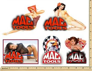 Mac Tools Sticker Set Of 5 Glossy Decals Mechanic Tool Box Sexy Pinup Girls Usa