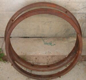 Two Ford Model T Inner Rims Wooden Spoke Original Automobile Rims 23