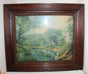 Antique Victorian Picture Frame Lovers Lane Print 27 X 23 Solid Wood