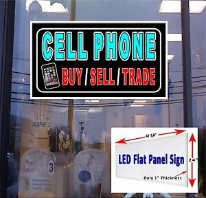 Cellphone Buy Sell Trade Led Flat Panel Light Box Window Sign 48x24