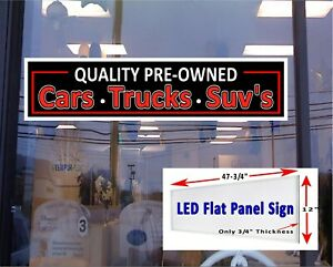 Pre Owned Automobiles Led Illuminated Sign 48x12 Window Sign Flat Panel Led