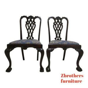 Pair Vintage Mahogany Reproduction Ball Claw Chippendale Dining Side Chairs A