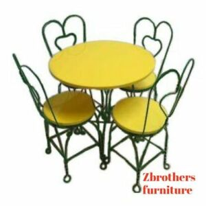 Antique Ice Cream Parlor Saloon Bent Wire Bistro Table And 4 Chairs Dining Set B