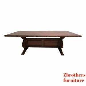 Vintage Teak Mid Century Dining Room Conference Table Custom Brass Inlay