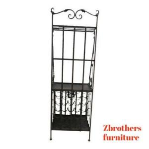 Vintage Wrought Iron Filigree Wine Rack Baker Server Shelf Hutch Liquor Cabinet