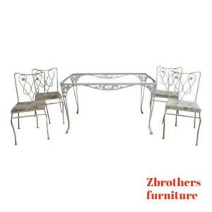 Vintage Woodard Outdoor Patio Metal Dining Table 4 Chairs Set