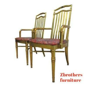 Pair Drexel Gold Regency Decorator Arm Chairs A