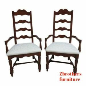 Pair Pennsylvania House Cherry Ladderback Dining Room Desk Arm Chairs Set B