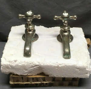 Antique Pair Nickel Brass Separate Hot Cold Faucets Standard Vtg 14 19l