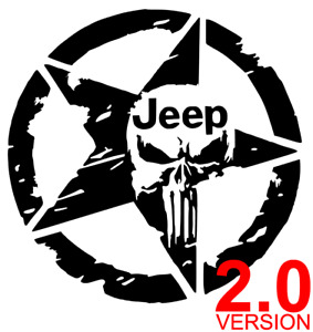 Jeep Punisher 2 0 Star Distressed Decal Sticker Wrangler Renegade Car 12 Colors