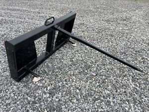 Quick Tach Tractor Loader Skid Steer Hay Bale Spear Fork Attachment Ship 179