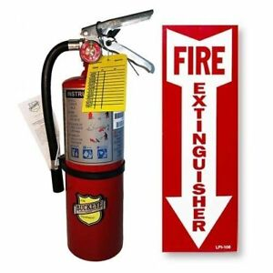 5 Lb Type Abc Dry Chemical Fire Extinguisher With 1 Wall Hook Sign
