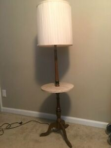 Vintage Italian Marble Table Floor Lamp Mid Century Wood Marble Side Tray