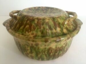 Vintage Spatterware Green Brown Covered Casserole Ceramic Pottery Serving Dish