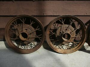 2 Antique Early Ford Spoke Wire Wheel Rims 20 25 X 4 Model A T See Photo