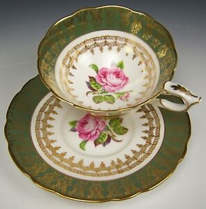 Royal Stafford Hand Painted Large Roses Gold Teal Gilt Tea Cup Saucer