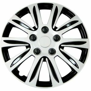 15 Inch Hubcaps Silver With Black Rim Wheel Covers Hub Cap Set 547 set Of 4