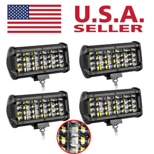 4pcs 7 Osram Led Light Bar 4rows Flood For Boat Pickup Suv Atv Utv Super Bright
