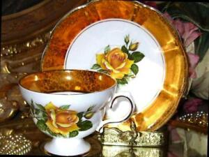 Rosina Wide Gold Orange Border Yellow English Roses Tea Cup And Saucer