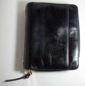 Franklin Covey Compact Black Full Grain Leather Unstructured Binder Planner