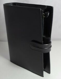Franklin Covey Compact 1 Black Shiny Leather Strap Planner binder Gently Used