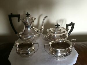 Stunning Ribbed Victorian Silver Plated 4 Piece Coffee Tea Service Sptcs 47