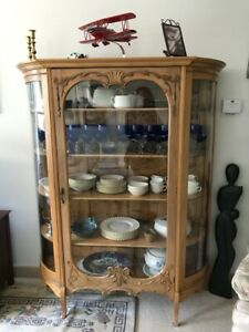 Antique Oak China Cabinet Curved Glass Excellent Condition
