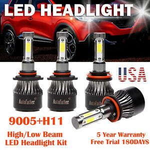9005 h11 Combo Osram Led Headlight Blub Car Kit Hi lo Beam 4 side Lamp 6500k Us
