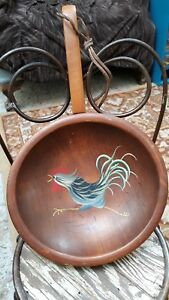 Vintage Munising Wood Bowl 9 Rare Footed Hand Painted Rooster