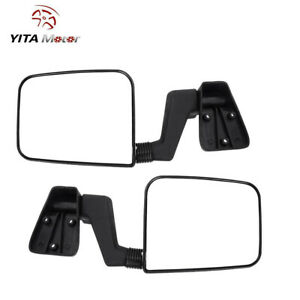 Lh Rh Side View Mirrors Black Manual Extended For 87 02 Jeep Wrangler 97 02 Tj