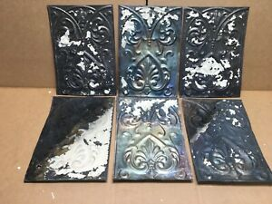 6 Pc Lot 11 By 8 Antique Ceiling Tin Metal Reclaimed Salvage Art Craft