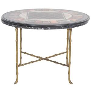 Pietra Dura Faux Bamboo Brass Marble Top Game Table