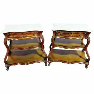 Pair Marble Top French Bombe Form End Tables Night Stands In Manner Of Auffray